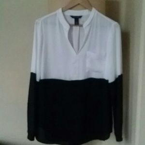 Dressy black and white top